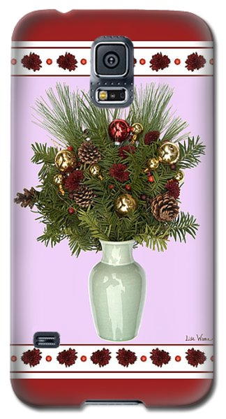 Galaxy S5 Case featuring the digital art Celadon Vase With Christmas Bouquet by Lise Winne