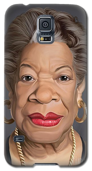 Galaxy S5 Case featuring the drawing Celebrity Sunday - Maya Angelou by Rob Snow