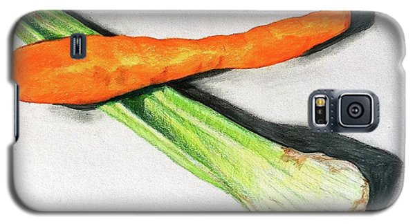 Galaxy S5 Case featuring the drawing Celery And Carrot Together by Sheron Petrie