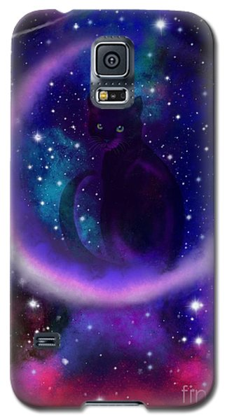 Galaxy S5 Case featuring the painting Celestial Crescent Moon Cat  by Nick Gustafson