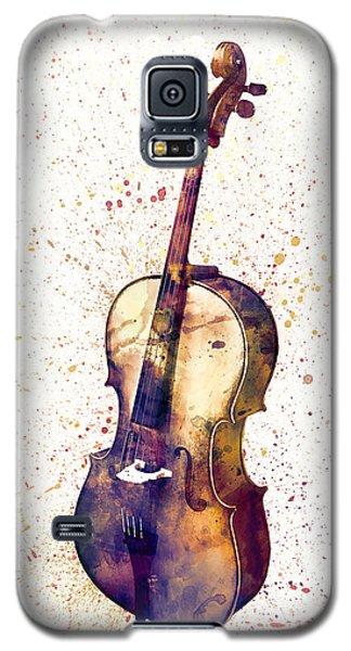 Violin Galaxy S5 Case - Cello Abstract Watercolor by Michael Tompsett