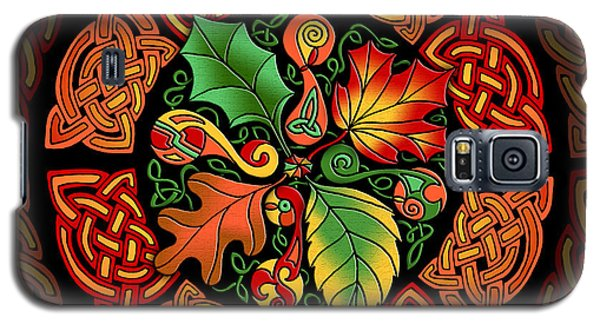 Galaxy S5 Case featuring the mixed media Celtic Autumn Leaves by Kristen Fox