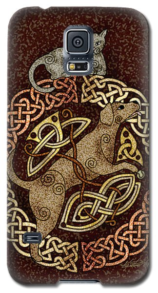 Celtic Cat And Dog Galaxy S5 Case by Kristen Fox