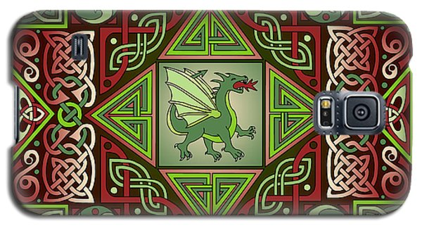 Galaxy S5 Case featuring the mixed media Celtic Dragon Labyrinth by Kristen Fox