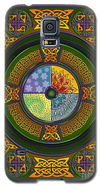 Galaxy S5 Case featuring the mixed media Celtic Elements by Kristen Fox