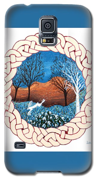 Galaxy S5 Case featuring the painting Celtic Knot With Bunny by Lise Winne
