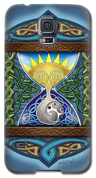 Galaxy S5 Case featuring the mixed media Celtic Sun Moon Hourglass by Kristen Fox