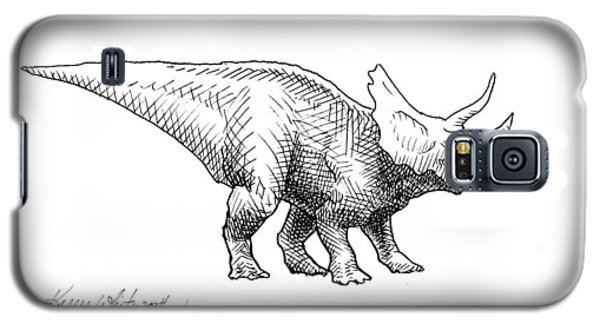 Galaxy S5 Case featuring the drawing Cera The Triceratops - Dinosaur Ink Drawing by Karen Whitworth