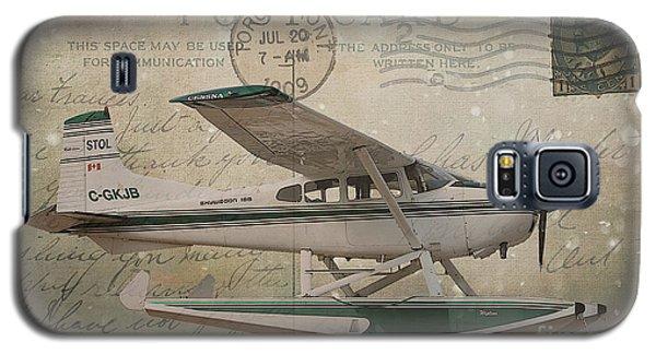 Cessna Skywagon 185 On Vintage Postcard Galaxy S5 Case by Nina Silver