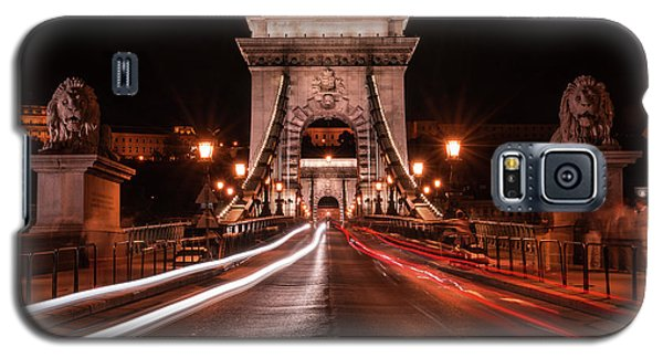 Galaxy S5 Case featuring the photograph Chain Bridge At Midnight by Jaroslaw Blaminsky