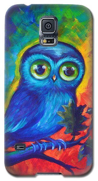 Galaxy S5 Case featuring the painting Chakra Abstract With Owl by Agata Lindquist
