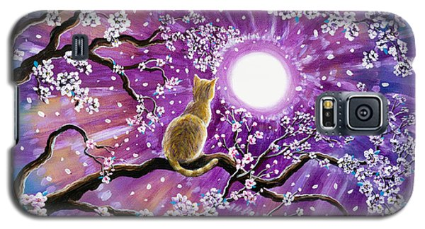 Champagne Tabby Cat In Cherry Blossoms Galaxy S5 Case