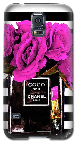 Watercolor Galaxy S5 Case - Chanel Noir Perfume With Flowers by Del Art