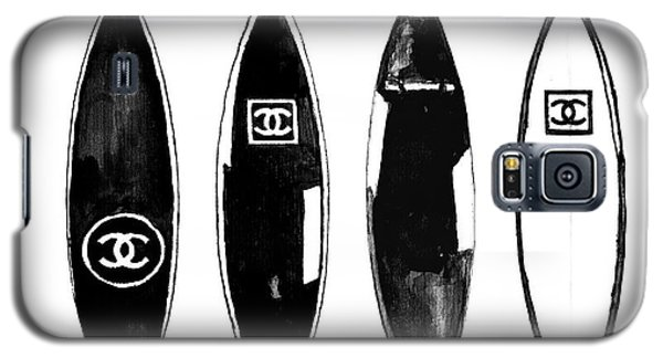 Watercolor Galaxy S5 Case - Chanel Surfboard  Black And White by Del Art