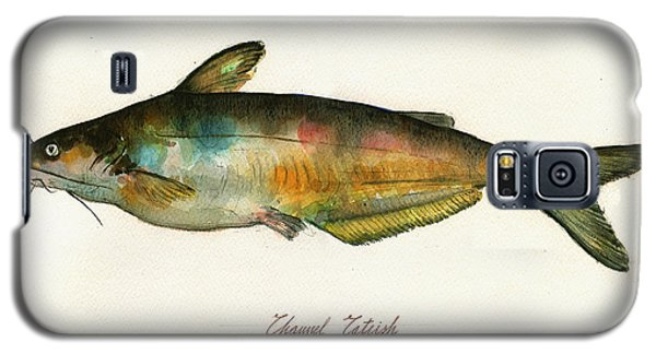 Channel Catfish Fish Animal Watercolor Painting Galaxy S5 Case by Juan  Bosco