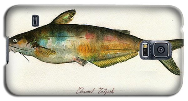 Catfish Galaxy S5 Case - Channel Catfish Fish Animal Watercolor Painting by Juan  Bosco