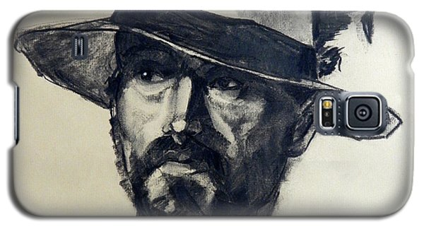 Charcoal Portrait Of A Man Wearing A Summer Hat Galaxy S5 Case
