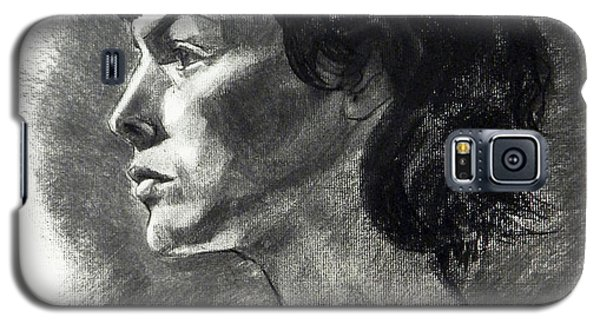 Charcoal Portrait Of A Pensive Young Woman In Profile Galaxy S5 Case