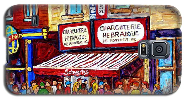 Charcuterie Hebraique Schwartz Line Up Waiting For Smoked Meat Montreal Paintings Carole Spandau     Galaxy S5 Case