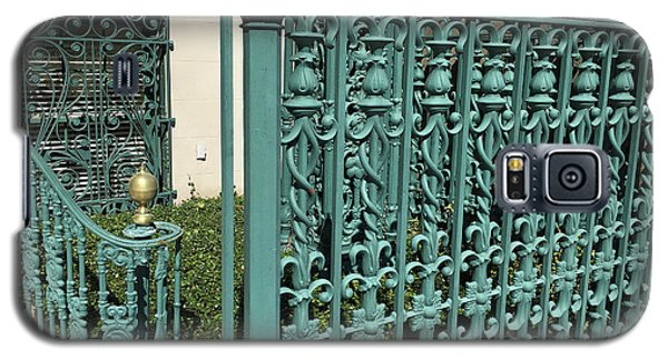 Galaxy S5 Case featuring the photograph Charleston Aqua Turquoise Rod Iron Gate John Rutledge House - Charleston Historical Architecture by Kathy Fornal