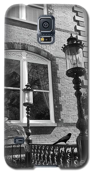 Galaxy S5 Case featuring the photograph Charleston French Quarter Architecture - Window Street Lanterns Gothic French Black White Art Deco  by Kathy Fornal