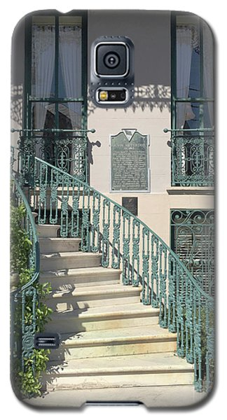 Galaxy S5 Case featuring the photograph Charleston Historical John Rutledge House - Aqua Teal Gate Staircase Architecture - Charleston Homes by Kathy Fornal