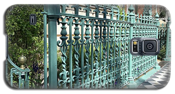 Galaxy S5 Case featuring the photograph Charleston Historical John Rutledge House Fleur Des Lis Aqua Teal Gate Fence Architecture  by Kathy Fornal