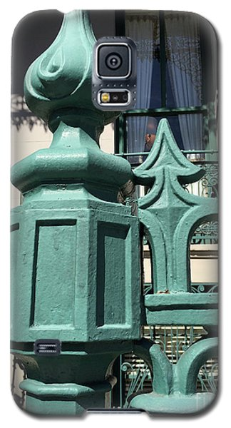 Galaxy S5 Case featuring the photograph Charleston John Rutledge House Fleur De Lis Symbols - French Quarter Architecture Gate Posts by Kathy Fornal