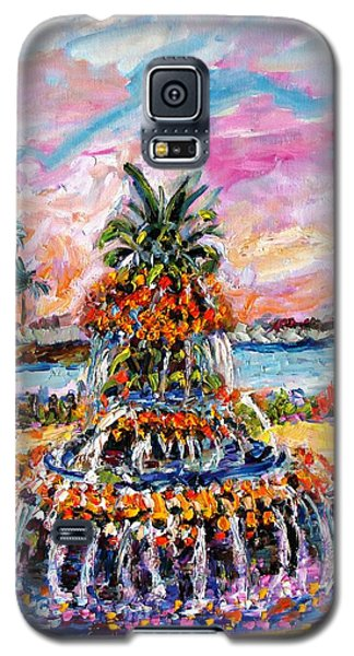 Galaxy S5 Case featuring the painting Charleston Pineapple Fountain Sc by Ginette Callaway