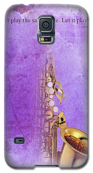 Charlie Parker Saxophone Purple Vintage Poster And Quote, Gift For Musicians Galaxy S5 Case by Pablo Franchi