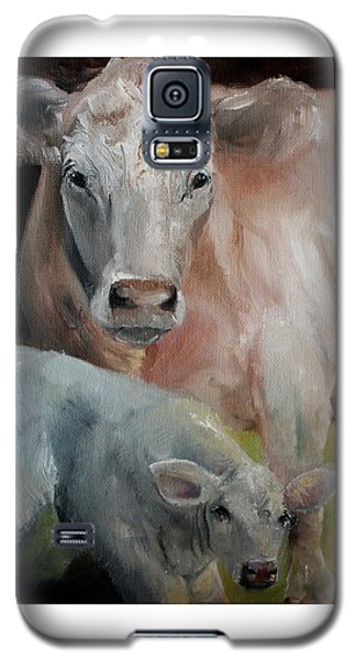Charolais Cow Calf Painting Galaxy S5 Case by Michele Carter