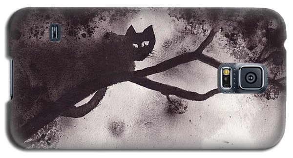 Galaxy S5 Case featuring the painting Chat Dans L'arbre by Marc Philippe Joly