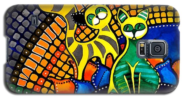 Galaxy S5 Case featuring the painting Cheer Up My Friend - Cat Art By Dora Hathazi Mendes by Dora Hathazi Mendes