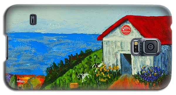 Galaxy S5 Case featuring the painting Cheerwine Barn by Angela Annas