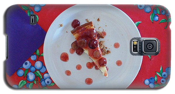 Galaxy S5 Case featuring the digital art Cheese Cake With Cherries by Jana Russon
