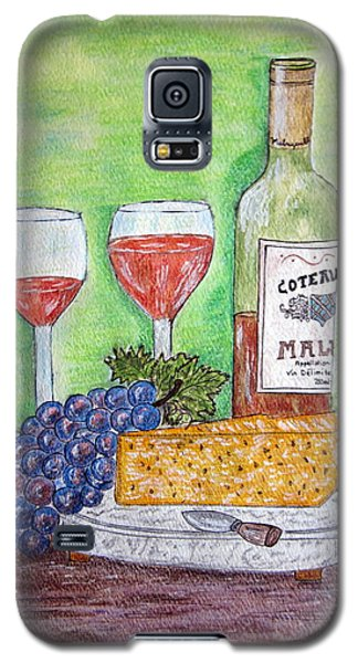 Galaxy S5 Case featuring the painting Cheese Wine And Grapes by Kathy Marrs Chandler