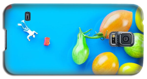Galaxy S5 Case featuring the painting Chef Tumbled In Front Of Colorful Tomatoes II Little People On Food by Paul Ge