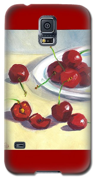 Galaxy S5 Case featuring the painting Cherries On A Plate by Susan Thomas