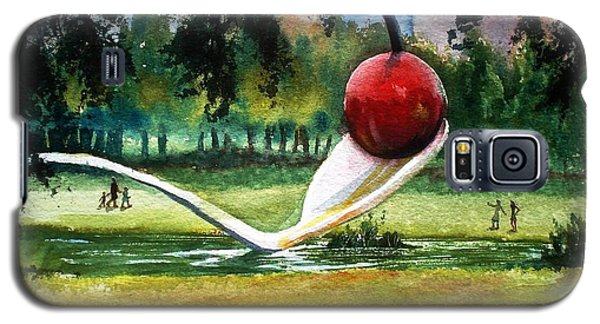 Galaxy S5 Case featuring the painting Cherry And Spoon by Marilyn Jacobson