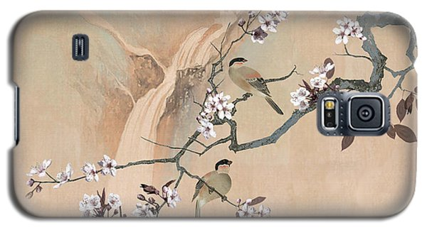 Cherry Blossom Tree And Two Birds Galaxy S5 Case