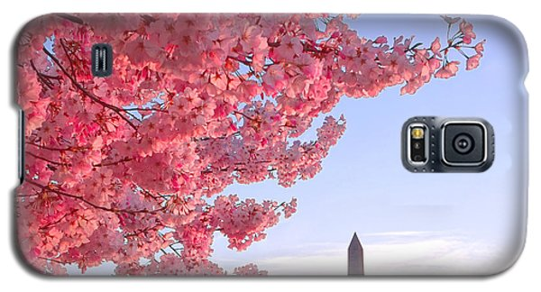 Cherry Tree And The Washington Monument  Galaxy S5 Case by Olivier Le Queinec