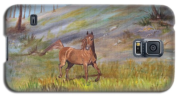 Galaxy S5 Case featuring the painting Chestnut Stallion by Jan Amiss