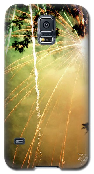 Galaxy S5 Case featuring the photograph Chetola Yellow Fireworks by Meta Gatschenberger