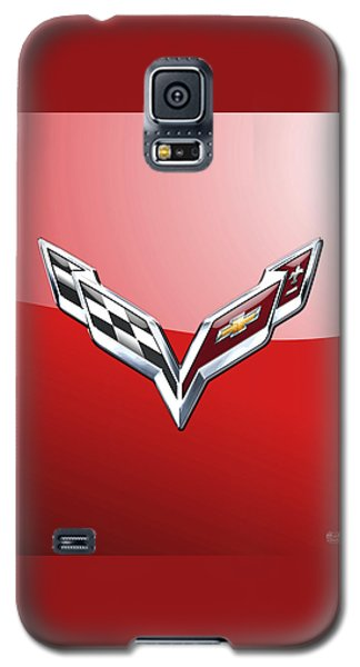 Chevrolet Corvette - 3d Badge On Red Galaxy S5 Case by Serge Averbukh