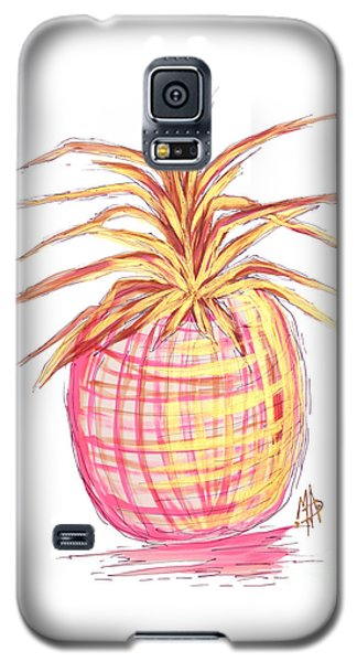 Chic Pink Metallic Gold Pineapple Fruit Wall Art Aroon Melane 2015 Collection By Madart Galaxy S5 Case by Megan Duncanson
