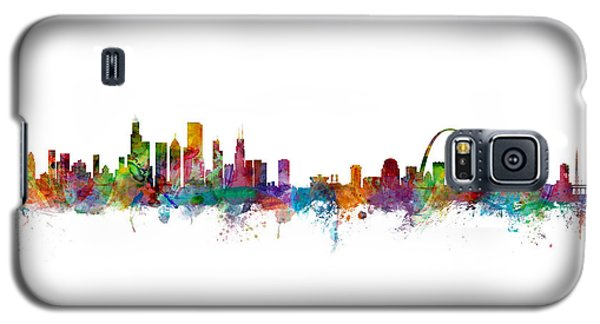 Chicago And St Louis Skyline Mashup Galaxy S5 Case by Michael Tompsett