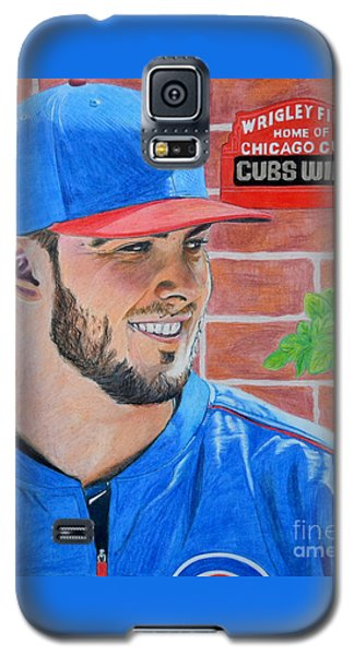 Galaxy S5 Case featuring the drawing Chicago Cubs Kris Bryant Portrait by Melissa Goodrich