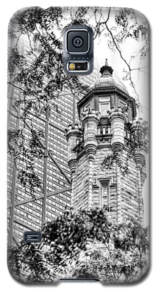Galaxy S5 Case featuring the photograph Chicago Historic Water Tower Fog Black And White by Christopher Arndt