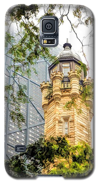 Galaxy S5 Case featuring the painting Chicago Historic Water Tower Fog by Christopher Arndt