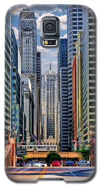 Galaxy S5 Case featuring the painting Chicago Lasalle Street by Christopher Arndt
